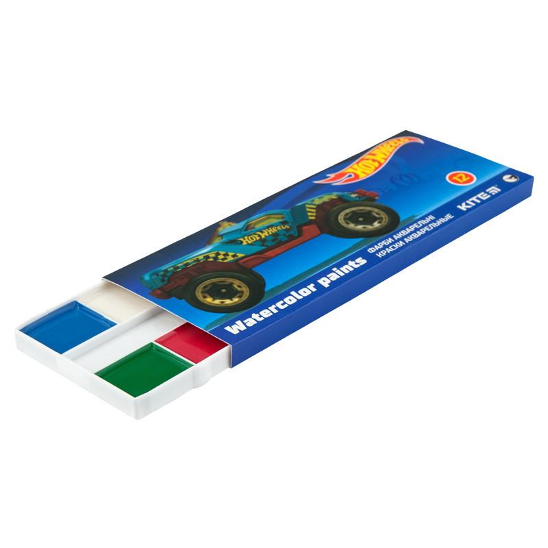 Фарби акварельні Kite 041 Hot Wheels 12 кольорів в картонній упаковці HW19-041