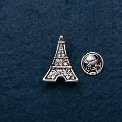 Брошка Ейфелева вежа в стразах, метал під срібло,23мм