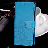 Чехол для xiaomi redmi note 8t книжка из искусственной кожи с тиснением (голубой)