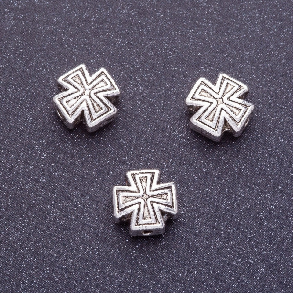 Фурнитура вставка бусина крест L-10мм d1-1,5мм цвет серебро фас. 20гр. +-10шт
