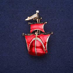 Брошь Корабль Алые паруса эмаль цвет красный 30х44мм желтый металл