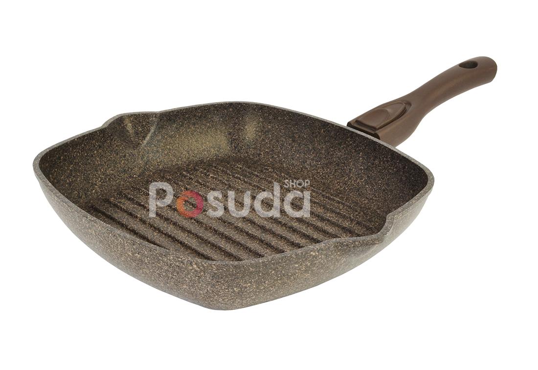 Сковорода-гриль Биол Гранит браун со съемной ручкой 26 см 26143П