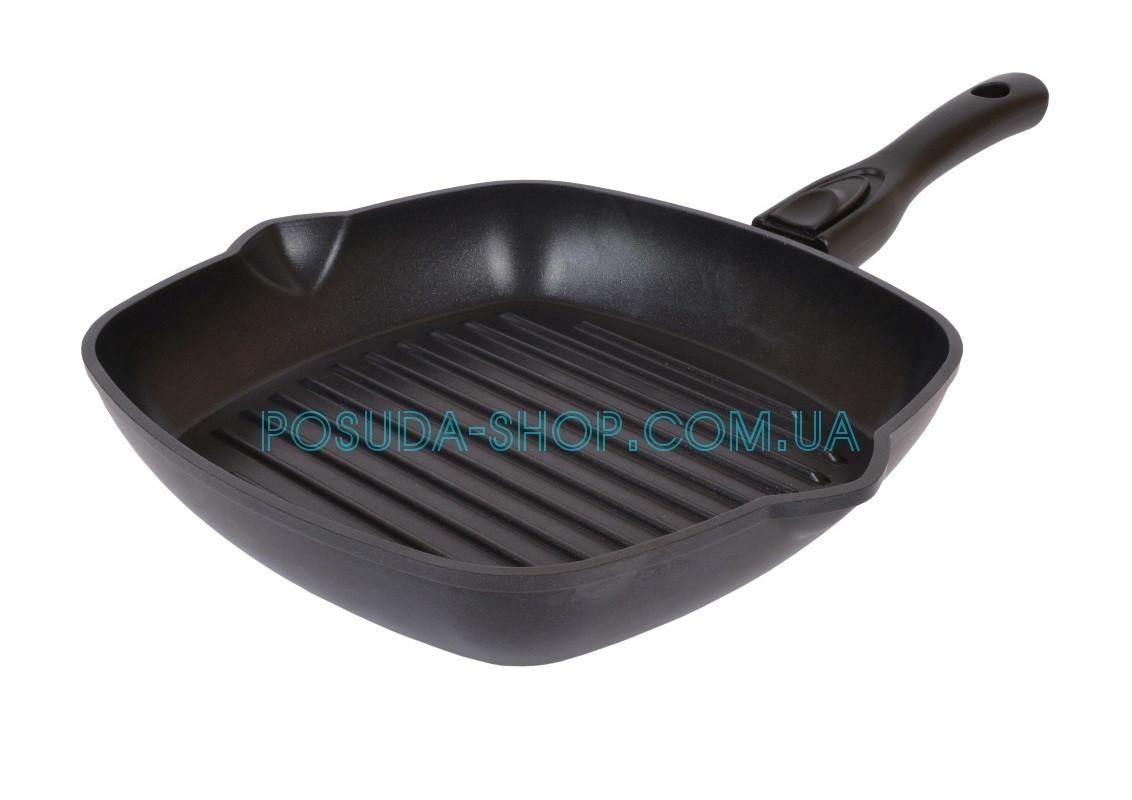 Сковорода гриль с антипригарным покрытием Биол и съемной ручкой 28 см 2814П