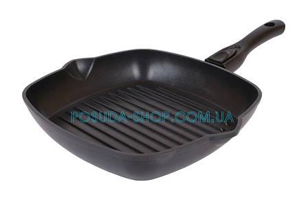 Сковорода гриль с антипригарным покрытием Биол и съемной ручкой 28 см 2814П, фото 2