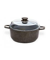 Набор посуды Биол Гранит браун WOK сковорода 24 см, Вок 28 см и кастрюля 4 л с крышками Г28ПС, фото 3