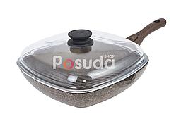 Сковорода-гриль Биол Гранит браун с крышкой 26 см 26143ПС