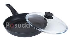 Сковорода с тефлоновым покрытием и стеклянной крышкой Биол Оптима 22 см 2204ПС, фото 3
