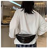 Женская бананка голографическая блестящая поясная детская сумочка черная, фото 5