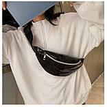 Женская бананка голографическая блестящая поясная детская сумочка черная, фото 8