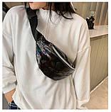 Женская бананка голографическая блестящая поясная детская сумочка черная, фото 9