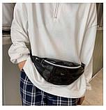 Женская бананка голографическая блестящая поясная детская сумочка черная, фото 6