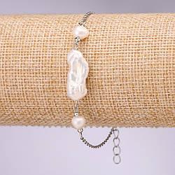 Браслет з бароковим перлами на ланцюжку d-15х10+-мм L-18-23см