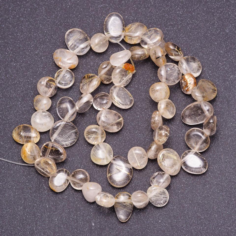Бусины из натурального камня Кварц Волосатик галтовка бабочка d-9(+-)мм нитка L-40см