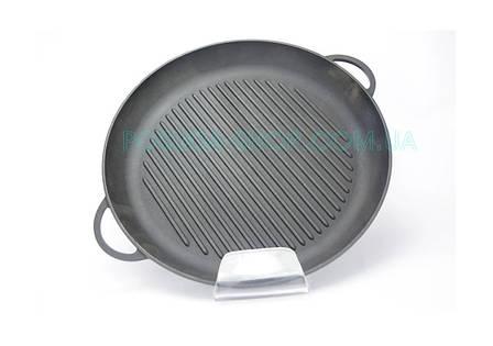 Чугунная сковорода гриль круглая с двумя литыми ручками 20 см Ситон Г200, фото 2