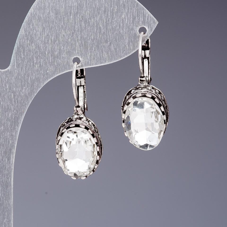 Серьги с белыми кристаллами Классические L-3см