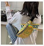 Женская бананка голографическая блестящая поясная детская сумочка золотая желтая, фото 7