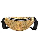 Женская бананка голографическая блестящая поясная детская сумочка золотая желтая, фото 10