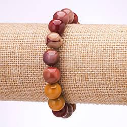 Браслет из камня Мукаит Яшма гладкий шарик d-10мм L-18см на резинке