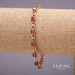 Браслет Xuping бесконечность с камнями цвет красный s-5мм L-17-19мм позолота 18к