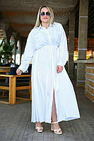 Женское макси платье-рубашка большие размеры белый