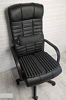 Подушка накидка для сидения на офисном кресле руководителя ортопедическая с поясничным упором. Комплект.