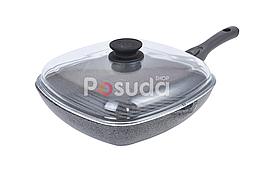 Сковорода-гриль Биол Гранит грей с крышкой 26 см 26144ПС
