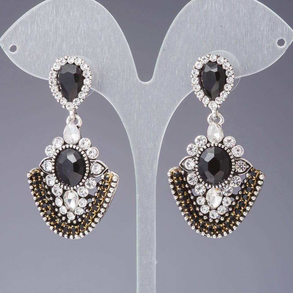"""Серьги с черными кристаллами цвет """" античное золото"""" L-5см"""