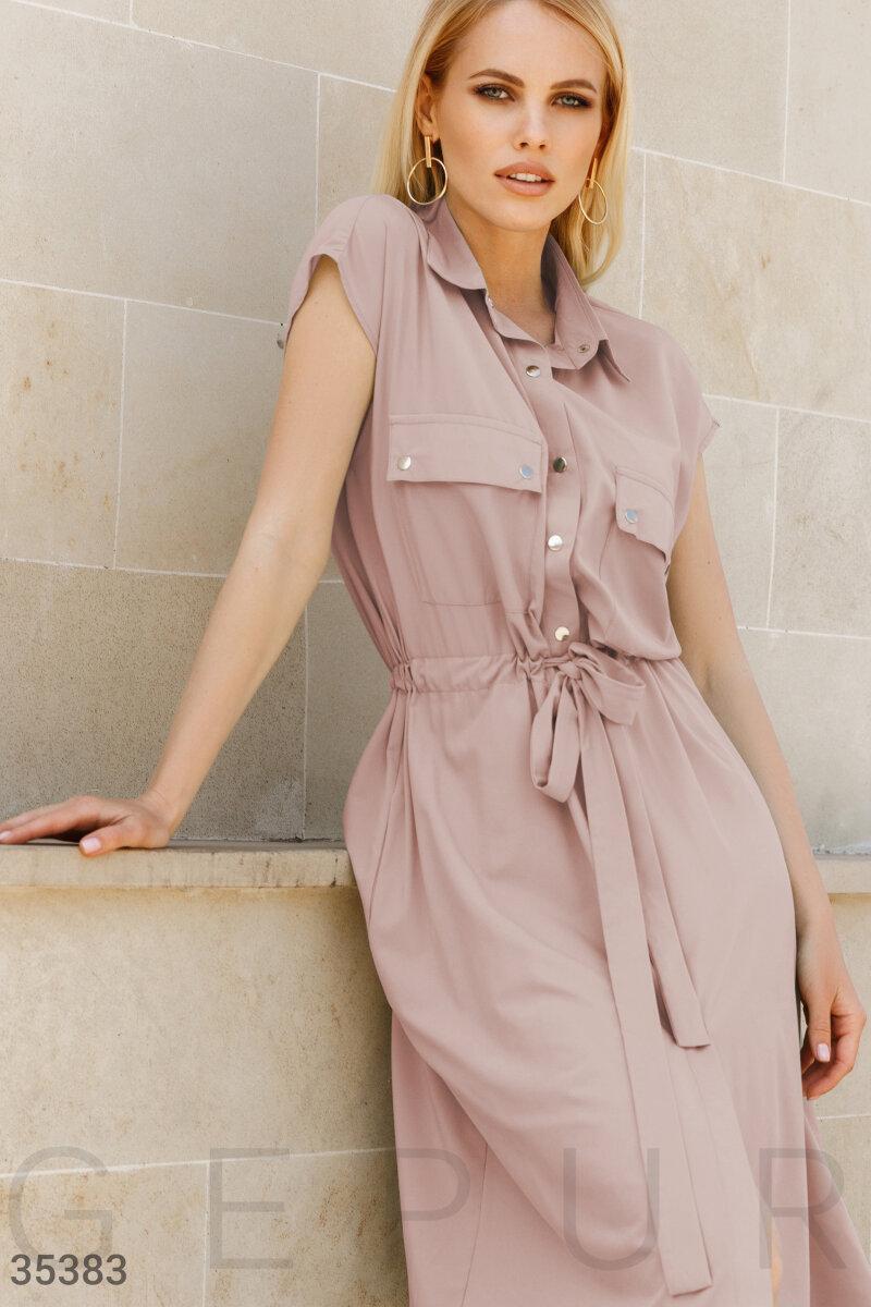 Повседневное платье-рубашка длины миди бежевое