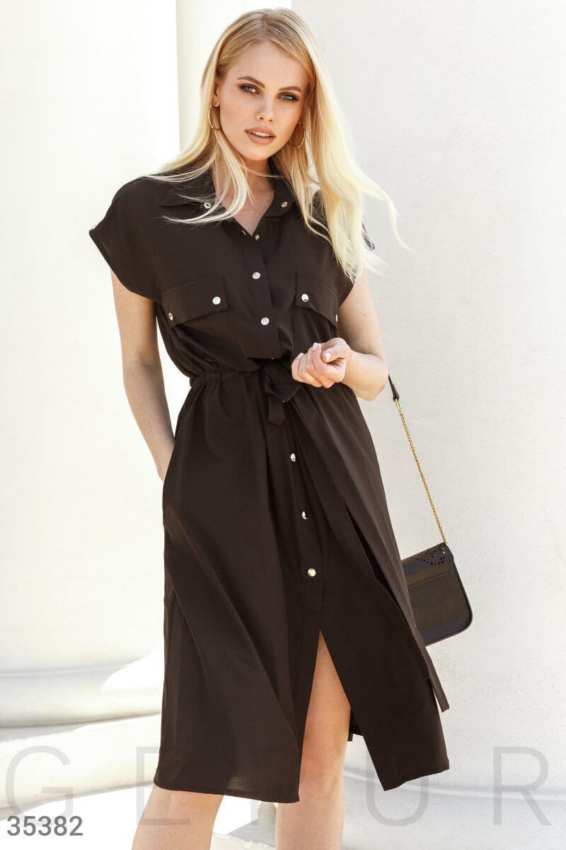 Повсякденне плаття-сорочка довжини міді чорне