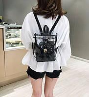 Летняя женская сумка рюкзак с косметичкой  Аквариум Черный прозрачный силиконовый