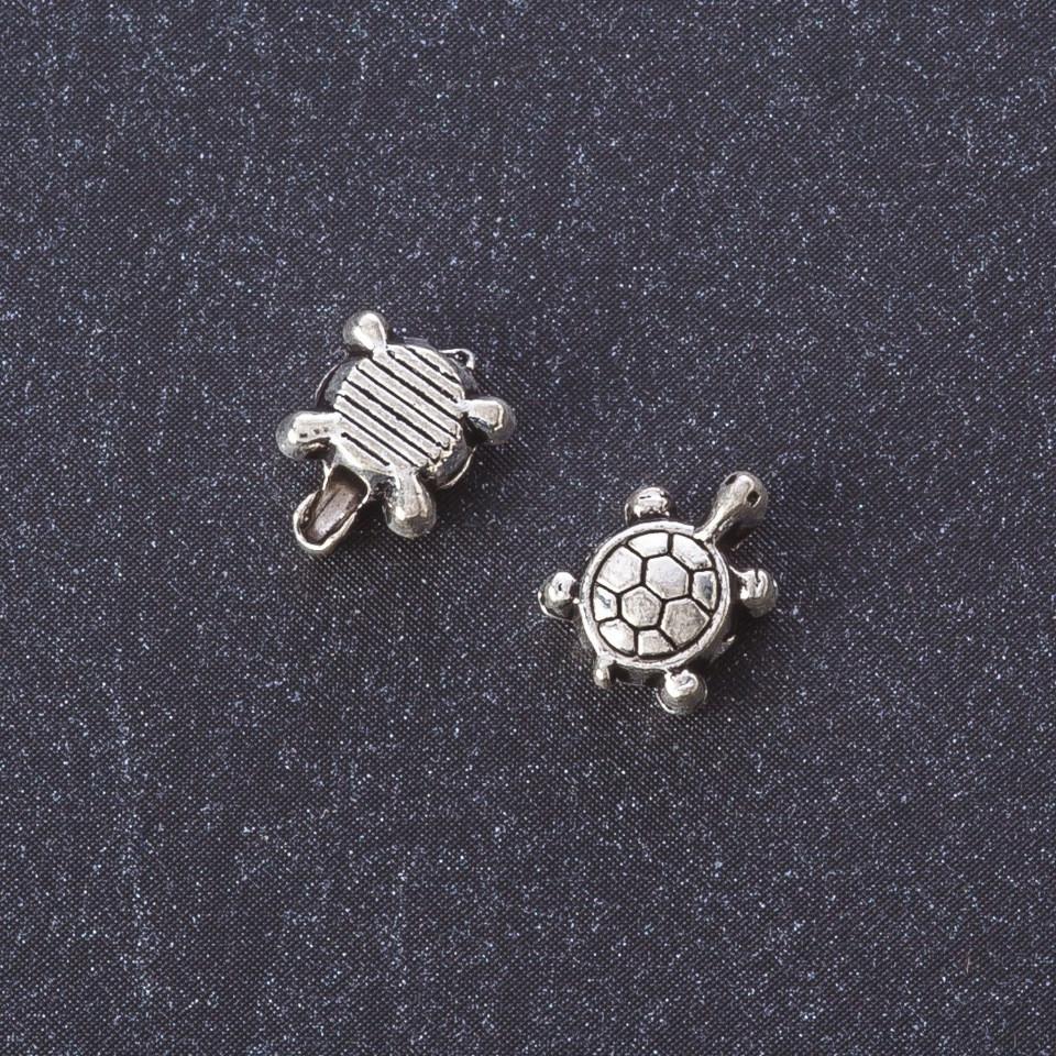 "Фурнитура бусина вставка Черепашка цвет металла ""серебро"" 7х8 мм пак.20гр. +-40шт."