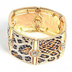 [5-6см] Браслет жіночий, широкий, стилізований під леопарда, колір - золото
