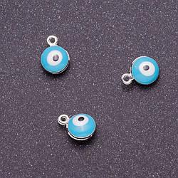 """Фурнитура подвеска """"глаз"""" d-7мм L-9мм голубая эмаль металл серый фас.12шт"""