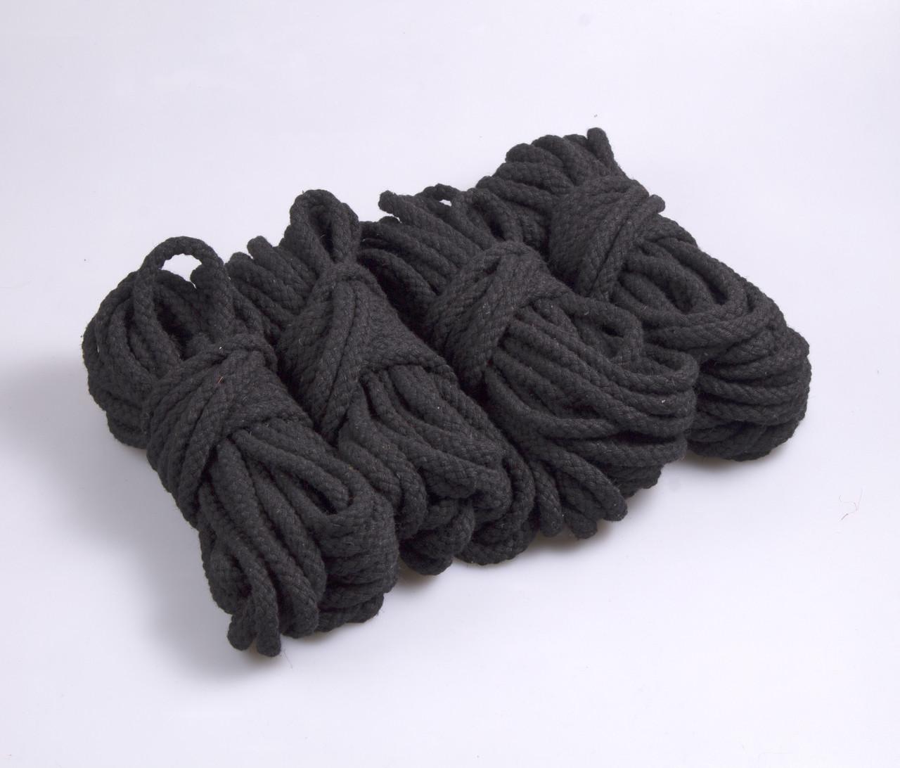 Веревки для бондажа черная плетеная , хлопок, 4х8м. 6мм
