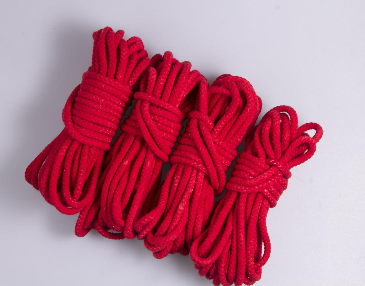 Веревки для бондажа красная, хлопок, 4х8м. 6мм