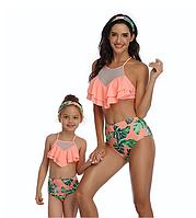 Стильный модный яркий женский купальник с высокими плавками с воланами, рюшами размер L