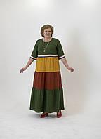 Платье длинное с рядами рюш разных цветов