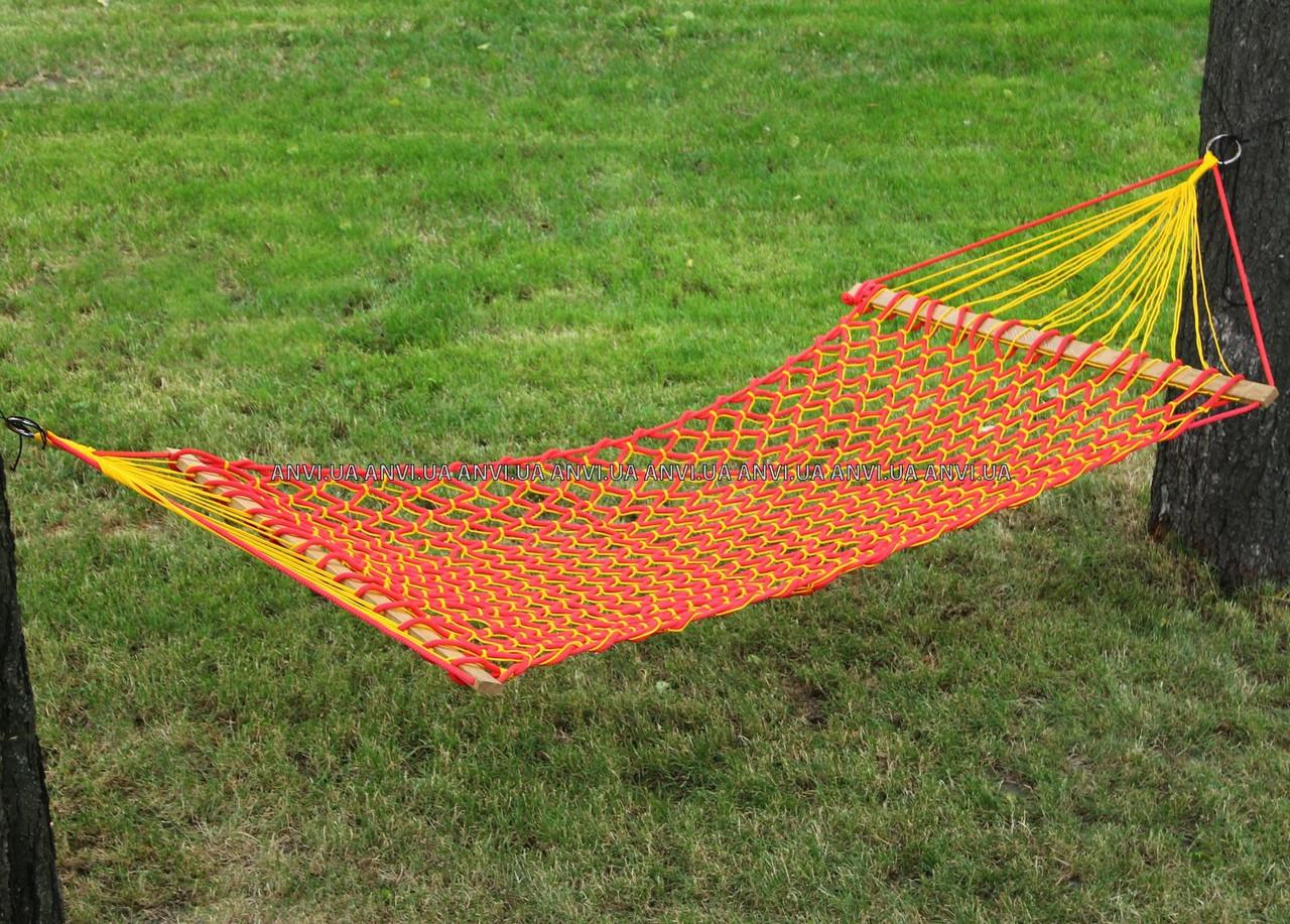 Гамак садовый ручная работа 200х120см ячейка (разные цвета)