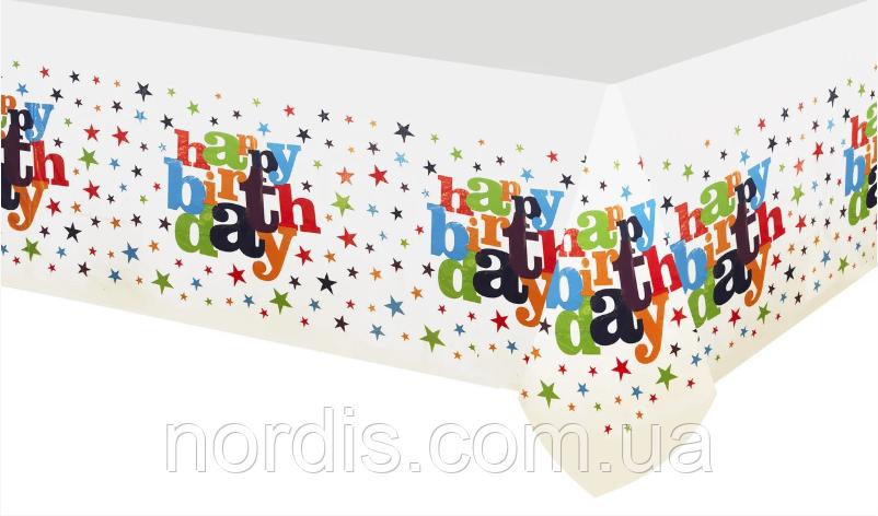 """Скатертина поліетиленова.дитяча. """"Happy Birthday зірки """".110х180 див."""