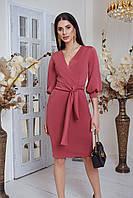 Женское платье из креп дайвинга с V-образным вырезом, рукав 3/4 и с поясом на завязке (42-48) розовый