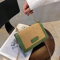 Летние плетеные сумки из соломки женские Sintia с металлическими ручками оливковый черный на цепочке