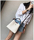 Красивая сумка женская Бежевая мягкая летняя вместительная, фото 2