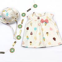 Стильное платье с панамкой для девочек с короткими рукавами и красочным принтом(74-92)