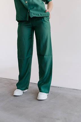 Стильные женские брюки из льна-тафт с высокой талией, карманы и пояс резинка(42-60), фото 2