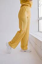 Стильные женские брюки из льна-тафт с высокой талией, карманы и пояс резинка(42-60), фото 3