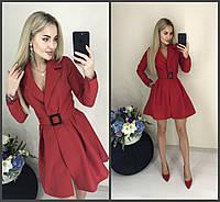 Короткое платье из габардина под запах с поясом и длинными рукавами (42-46) Красный