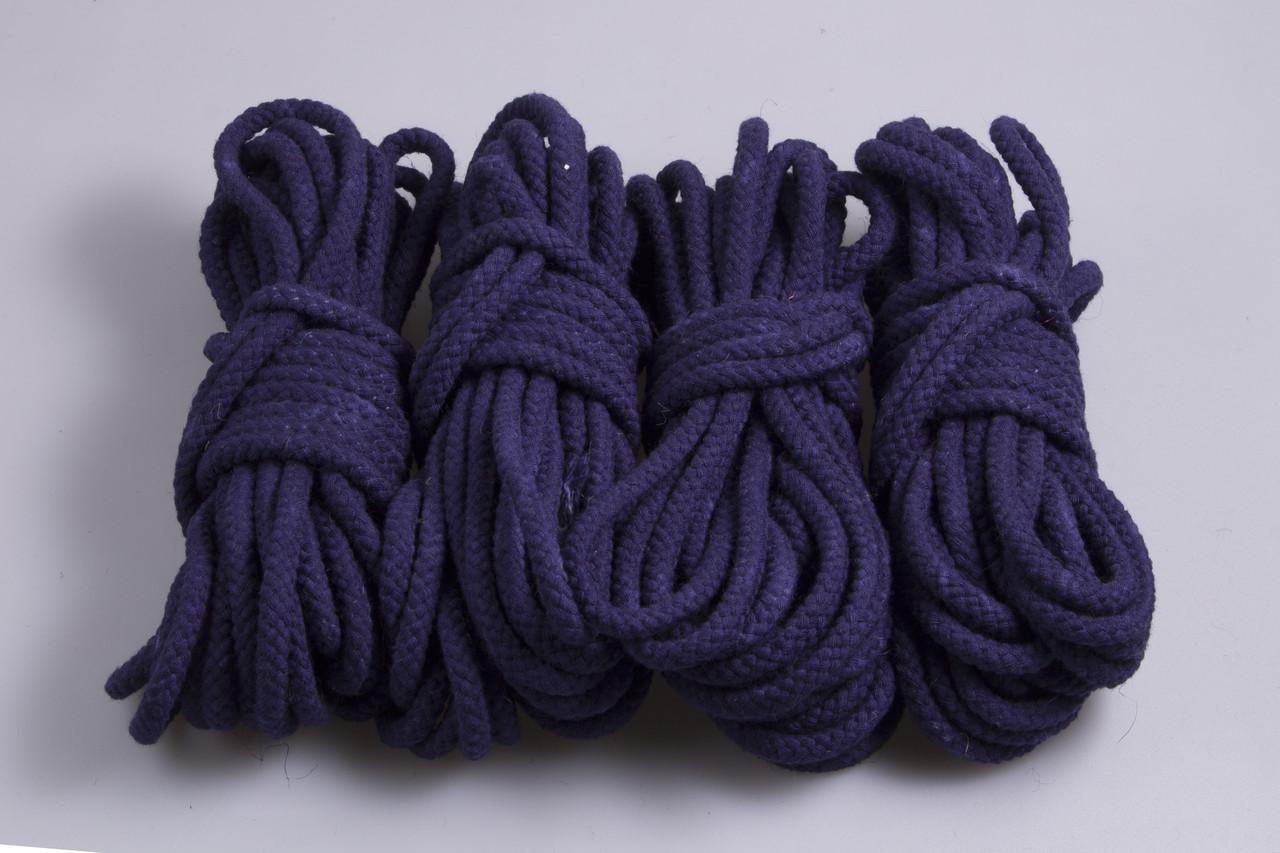 Веревки для бондажа синяя, хлопок, 4х8м. 6мм