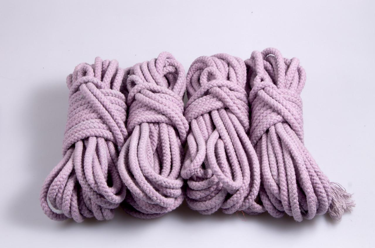 Веревки для бондажа фиолетовая, хлопок, 4х8м. 6мм