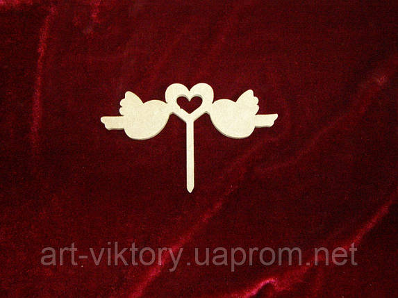 Топпер Пташки з сердечком, прикраси для тортів і капкейків, фото 2