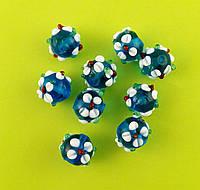 Бусина LW «Цветы», голубая, 12 мм